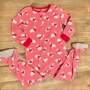 LNWOT Carter's Snow Bunny Fleece Footie Pajamas